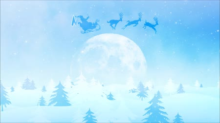慶典 : Winter Wonder Merry Christmas 4K Loop features a camera moving through a snowy pine covered landscape toward a full moon with Santa flying over to reveal a merry Christmas text in a loop 影像素材