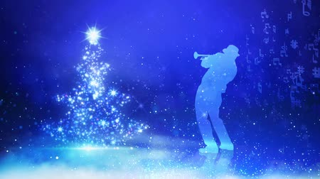 慶典 : Christmas Tree Musician Blue Background features the silhouette of a horn player with music notes flowing away from him on a blue background next to a sparkling Christmas tree