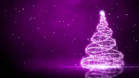 díszítés : Purple Glitter Tree with Snow Particles Background features a glittering particle Christmas tree with falling snow and lights on a purple reflective surface in a loop