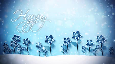 慶典 : Winter Flowers in the Snow Happy Holidays features animated blue winter flowers with snow falling and an animated Happy Holidays message