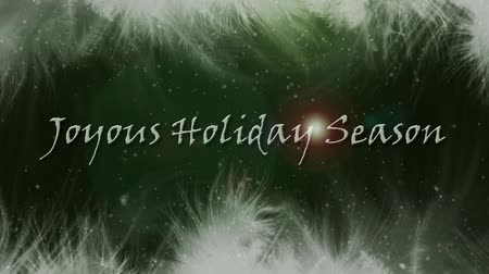 minimalizm : Feathery Holiday Season features animated soft feathers seeming to float on the wind on the top and bottom of screen with an animated happy holidays message.