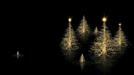 filigrana : Gold Christmas Merry Christmas features an elegant Christmas or holiday greeting video with a black and gold theme and Christmas trees appear to rise out of black liquid with reflections Vídeos