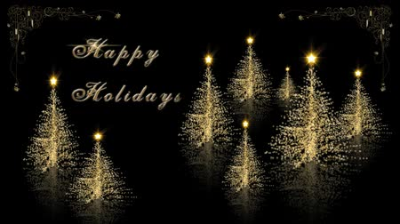 filigrana : Gold Christmas Happy Holidays features an elegant Christmas or holiday greeting video with a black and gold theme and Christmas trees appear to rise out of black liquid with reflections and animated Happy Holidays text message