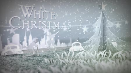 "慶典 : White Christmas Dreaming Of Pop ups features animated camera moves and pop-up paper silhouettes underscore a ""dreaming of a white Christmas with you"" animated message. 影像素材"