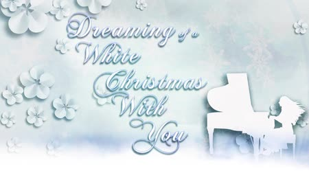 "пианино : White Christmas with You features a white on white elegant animated message with an animated piano player with flowers and snowflake falling saying ""dreaming of a white Christmas with you"". Стоковые видеозаписи"