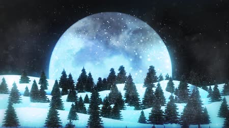 energický : Happy Holidays Fly-though to Moon 4K Loop features a camera flying over a pine forest and coming to rest with a huge moon in view with a silhouette of Santa flying across the moon leaving behind a Happy Holidays message