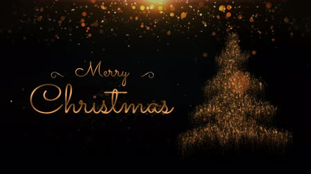 atmosféra : Merry Christmas Gold on Black 4k Loop features an elegant black environment with yellow and gold lights and a particle Christmas tree and Merry Christmas hand-written message in a loop