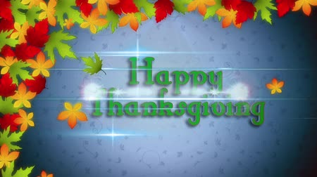 benedizione : Happy Thanksgiving with Falling Leaves and Flares presenta uno sfondo blu con foglie colorate che cadono e un flare rivela un testo Happy Thanksgiving Filmati Stock