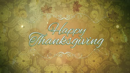požehnat : Thanksgiving Lace 4K loop features flowered lace background with translucent leaves falling toward the viewer with an animated Happy Thanksgiving text in a loop
