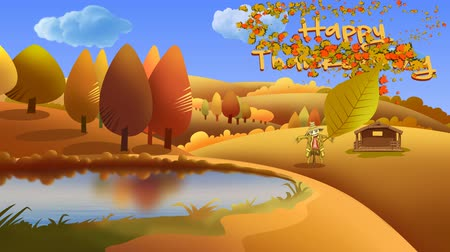požehnat : Autumn Landscape Happy Thanksgiving Leaf Blown Cartoon 4K Loop features a vector countryside autumn scene with rippling lake, moving clouds, and an animated Happy Thanksgiving message Dostupné videozáznamy