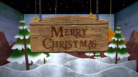 ajándékdobozban : Merry Christmas in a Box 4K Loop features pine trees, clouds, and star cut outs animating on stage in a box with a wooden sign falling in view with a Merry Christmas message in a loop