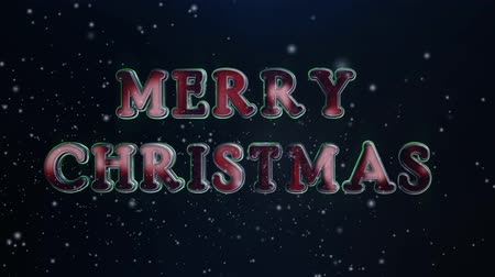 atmosféra : Red Green Merry Christmas Metal 3d Text 4K Loop features varying camera angles showing an elegant 3d Merry Christmas text with snow like particles flying through the scene in a loop