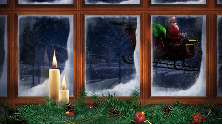 adwent : Christmas Window Santa Fly by 4K Loop