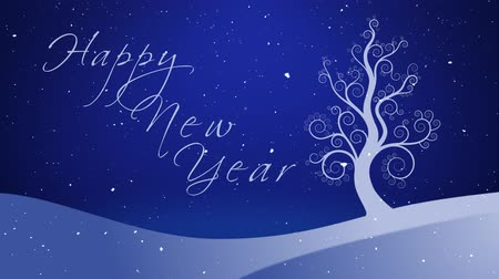 особенности : Happy New Year Winter White Growing Tree 4K features a white tree growing out of a winter landscape with sparkling stars in the background and snow falling with an animated hand-written Happy New Year message.