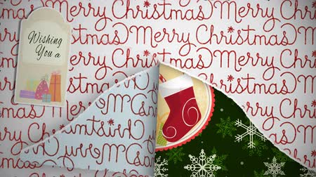 csomagolópapír : Merry Christmas Happy New Year Package Open 4K Loop features a present with Christmas wrapping paper tearing open layer by layer to reveal a Merry Christmas and Happy New Year message.
