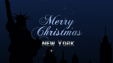 особенности : Merry Christmas New York 4K Loop features a dark screen with a burst of stars coming out and leading the viewer up to a silhouette of New York with a Merry Christmas New York message in a loop