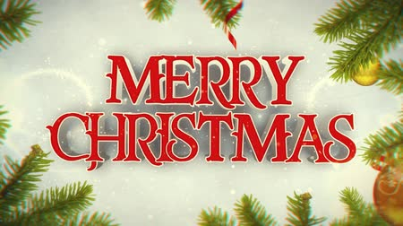 Merry Christmas Happy New Year with Snow and Pine Branches 4K Loop features a camera zooming through Christmas scenes of pine branches with a Merry Christmas and Happy New Year message