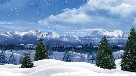 floco : Pan Across Pine Trees and Snow Capped Mountains in the Snow 4K features a camera panning across a landscape filled with snow, pine trees, mountains, clouds, and falling snowflakes Vídeos