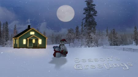 Seasons Greetings Cabin in the Mountains at Dusk 4K Loop features snow people in front of a lighted cabin in the mountains at dusk with a full moon overhead and a Season's Greetings message in the snow in a loop.