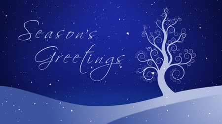 Season's Greetings Winter White Growing Tree 4K features a white tree growing out of a winter landscape with sparkling stars in the background and snow falling with an animated hand-written Season's Greetings message.