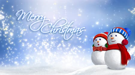Snowman Glitter Rising Merry Christmas 4K Loop features two snow people sitting in the snow with swirling snow, clouds, and glitter particles rising in the background and an animated text saying Merry Christmas