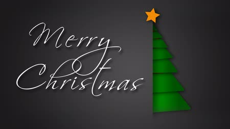 Unfolding Green Paper Merry Christmas Tree 4K feature a gray envelope background with paper pieces animating out to make a green Christmas tree with an animated hand-written Merry Christmas message