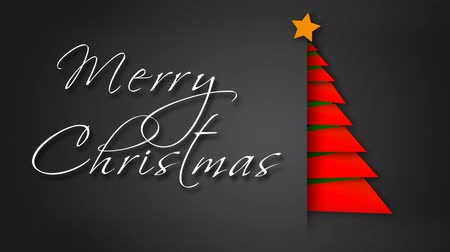 Unfolding Red Paper Merry Christmas Tree 4K feature a gray envelope background with paper pieces animating out to make a red Christmas tree with an animated hand-written Merry Christmas message Wideo