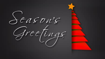 Unfolding Red Paper Season's Greetings Tree 4K feature a gray envelope background with paper pieces animating out to make a red Christmas tree with an animated hand-written Merry Christmas message