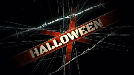 Barbed Wire Haunted Halloween 4K Loop features a zooming camera in a high energy atmosphere with barbed wire and a Halloween message Wideo