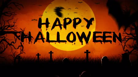 temor : Bat Filled Haunted Graveyard Happy Halloween 4K Loop features rolling clouds, flying bats, and a full moon overlooking a graveyard with an animated Happy Halloween message