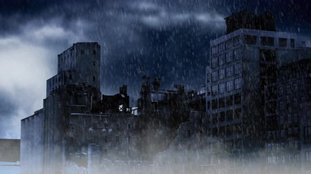 headstone : Apocalypse City in a Storm 4K features a rain storm and foggy atmosphere with an abandoned apocalyptic city in the background Stock Footage