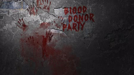 headstone : Blood Donor Party Invitation 4K Loop features a cement wall with blinking light and a message smeared in blood and sprayed blood Stock Footage
