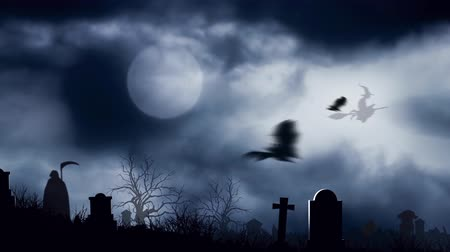 dia das bruxas : Graveyard Bats in the Moonlight 4K Loop features bats flying over a graveyard with moving clouds, a flying witch, zombies walking, and the grim reaper stalking