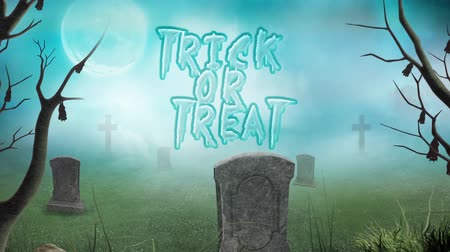 grim : Graveyard Trick or Treat in the Fog 4K Loop features a camera panning out to reveal a foggy cemetery graveyard with an animated trick or treat message