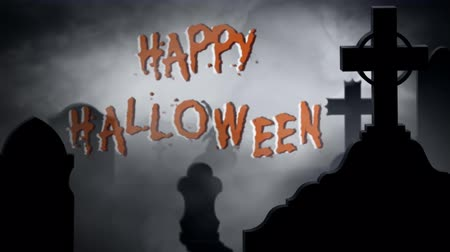 grim : Happy Halloween Foggy Graveyard 4K Loop features a close up silhouette of a graveyard with billowing smoke revealing a happy Halloween message and a zombie rising from the ground