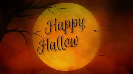 надгробная плита : Happy Halloween Full Moon in Orange 4K Loop features a close up of a yellow full moon with smoke rising and bats flying with Happy Halloween being hand written on the moon