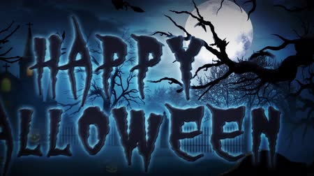 Happy Halloween Haunted Forest 4K Loop presenta un paisaje vectorial aterrador y una cámara panorámica que termina con un mensaje de texto Happy Halloween Archivo de Video