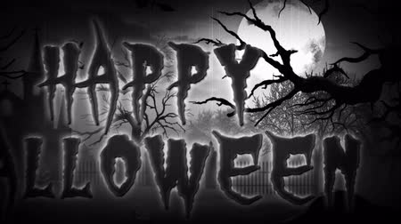 headstone : Happy Halloween Haunted Forest BW Retro 4K loop features a scary vector landscape and panning camera that ends with a Happy Halloween text message in Black and White with film grain.
