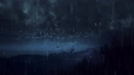 headstone : Happy Halloween Rain Storm 4K Loop features bats flying near a castle in a rain storm and the words Happy Halloween forming on a window with water droplets