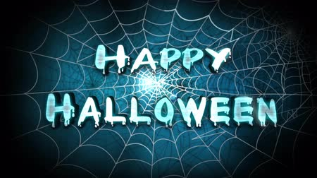 gravestone : Happy Halloween Spider Web 4K Loop features a camera flying back through spider webs to reveal an animated Happy Halloween text message