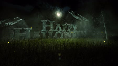 gravestone : Haunted Halloween Old House Drop Down 4K Loop features the words Happy Halloween dynamically dropping out of the sky in a field with lightning bugs and old houses in the background Stock Footage