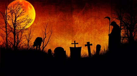 Haunted Graveyard Sunset 4K features bats flying over a graveyard with an orange sunset back, with moving clouds and smoke, zombies walking, and the grim reaper stalking Wideo