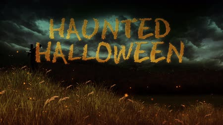 Haunted Halloween Scarecrow Fields 4K Loop features a flying camera revealing grass fields with scarecrows and an animated Halloween message