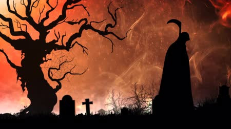 headstone : Haunting Smoke with Death 4K features a graveyard with an orange sunset back and smoke rising, and the grim reaper stalking Stock Footage