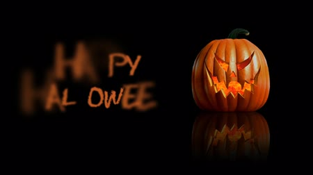 Pumpkin Happy Halloween Black Reflective 4K features a pumpkin with flames roiling inside and sitting on a reflective black surface and an animated Happy Halloween message.