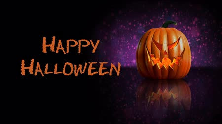 Purple Pumpkin Happy Halloween 4K features a pumpkin with flames roiling inside and sitting on a reflective black surface with a purple animated abstract backlight and an animated Happy Halloween message.