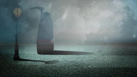 gravestone : Grim Reaper Awaiting Midnight 4K features a silhouette of the grim reaper next to an old fashioned clock on a mist shrouded stone street impatiently waiting for the midnight hour