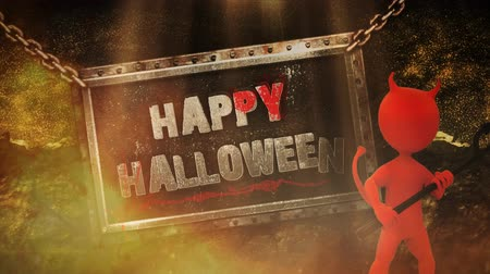 forcone : Happy Halloween Devil Metal Sign 4K Loop presenta uno zoom della fotocamera con un personaggio animato del diavolo con forcone e cartello incatenato che cade per dire Happy Halloween