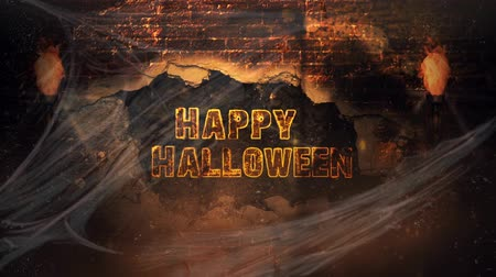 grim : Happy Halloween Reaper Brick Explosion 4K Loop features the shadow of the Grim Reaper on a brick wall views through cobwebs with the brick wall exploding out and leaving happy Halloween text Stock Footage