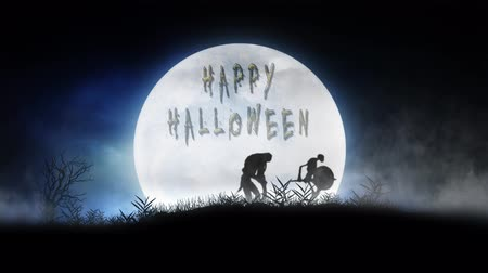 Monster Silhouette Parade Full Moon Happy Halloween 4K Loop features monstrous silhouettes marching through the grass before a low full moon in the mist with flying bats and a happy Halloween message